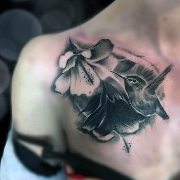 Shaded Black Hibiscus And Hummingbird Tattoo Womens Shoulders