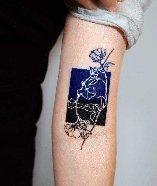 Shaded Dark Blue And White Ink Roses Tattoo Womens Arms