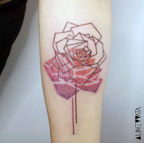 Shaded Red Rose Shadow Geometric Tattoo Women