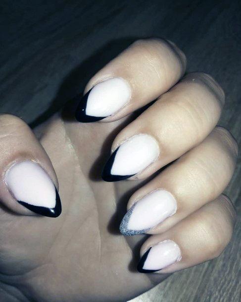 Sharp Black V Tipped Nails Nails Women