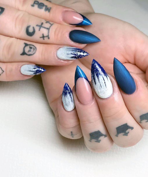 Sharp Blue And White Snow Nails Women