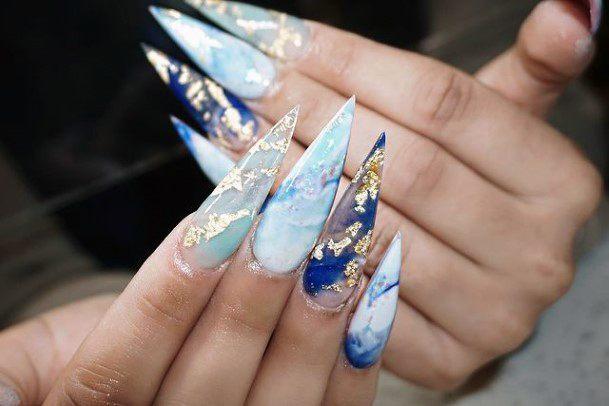Sharp Nails Metallic Blue Water Women Art
