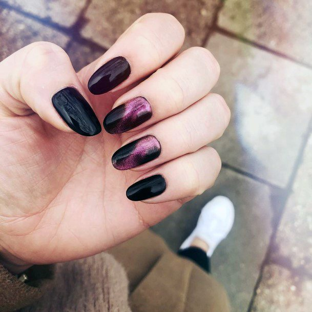 Sharp Purple And Black Cat Eye Nails