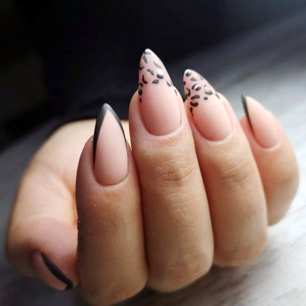 Sharp Shellac Nails With Black Tips For Women