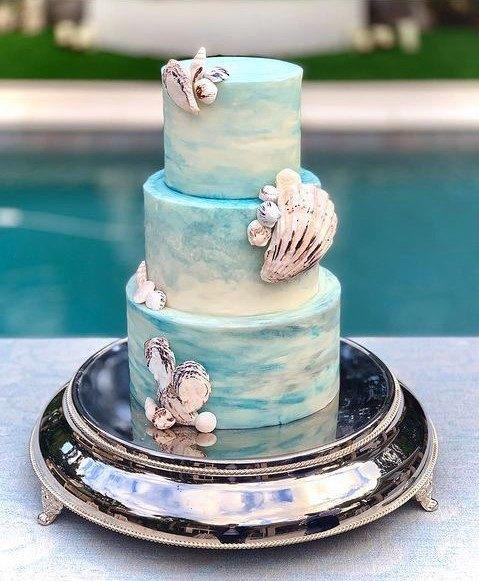Shell Adorned Beach Wedding Cake Women