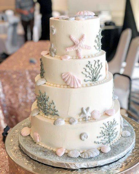 Shell Designs Beach Wedding Cake Women Art