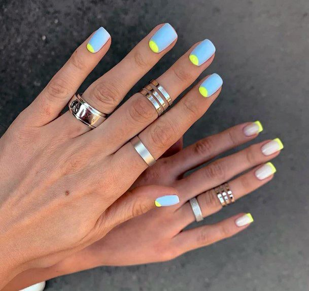 Shellac Nails With Inverse Manicure Yellow Grey For Women