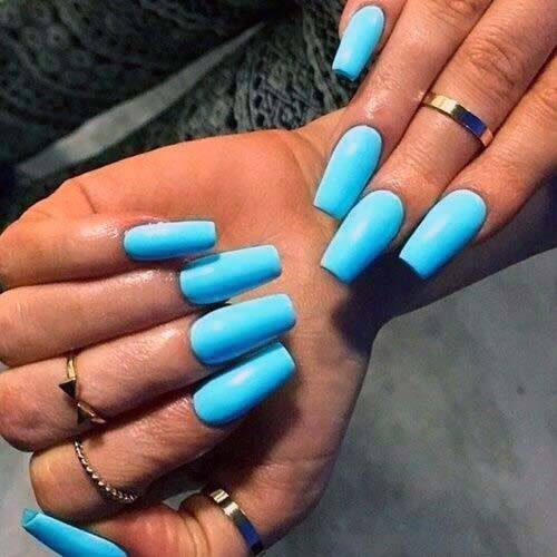 Shellac Painted Bright Blue Nails For Women