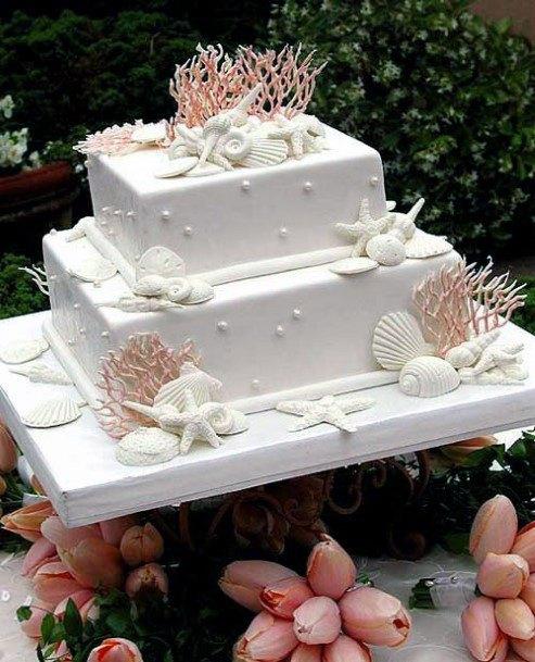 Shells And Starfish Beach Wedding Cake For Women Designs