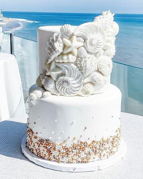 Shells White Beach Wedding Cake Women