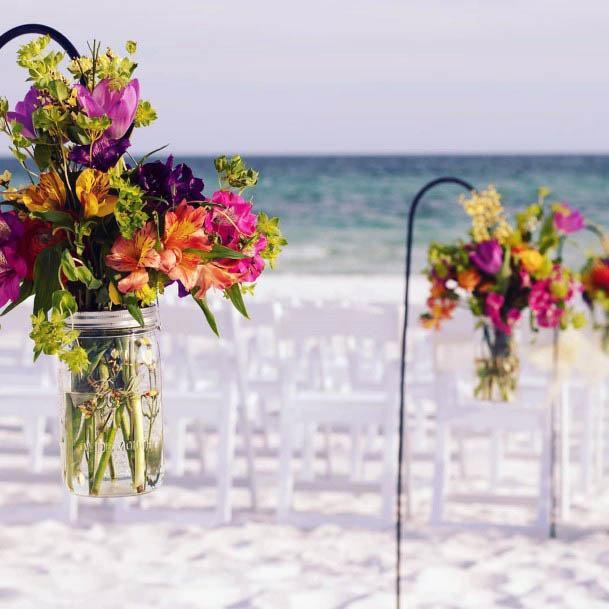 Shepherd Hook Beach Wedding Flowers Vase