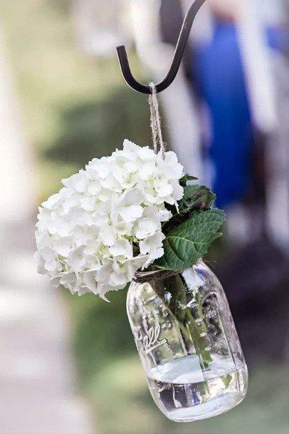Shepherds Hook Glass Vase With Hydrangea Wedding Flowers