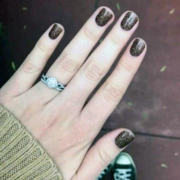 Shining Brown Nails Women