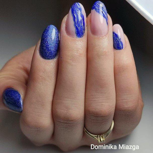 Shining Dark Blue Water Nails Women