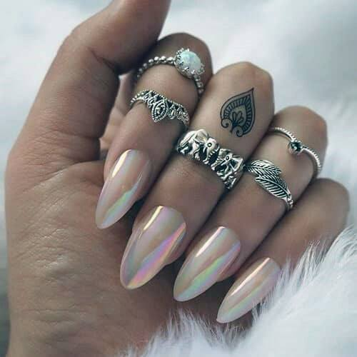 Shining Iridescent Nails Women