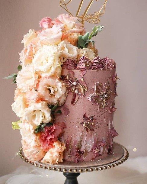 Shining Pink Wedding Beautiful Cake With Rose Flowers