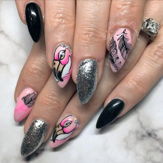 Shining Silver And Black With Pink Beaked Flamingo Nails Women