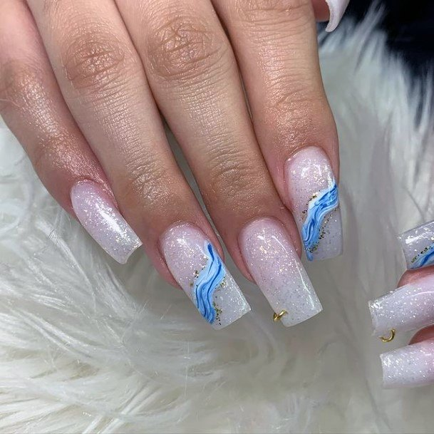Shining White And Water Blue Designed Nails Women