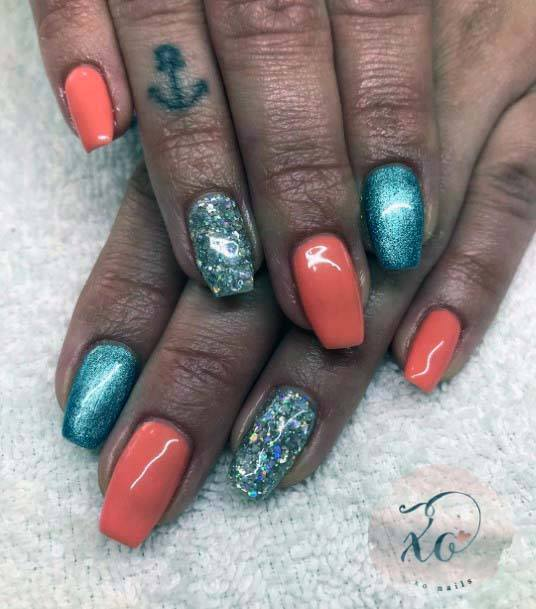 Shiny Blue And Pale Orange Nails For Women