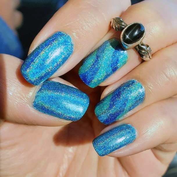 Shiny Blue Water Nails Women