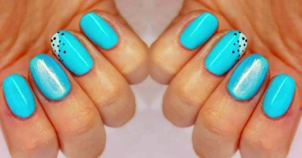 Shiny Bright Blue Nails Dotted Art For Women