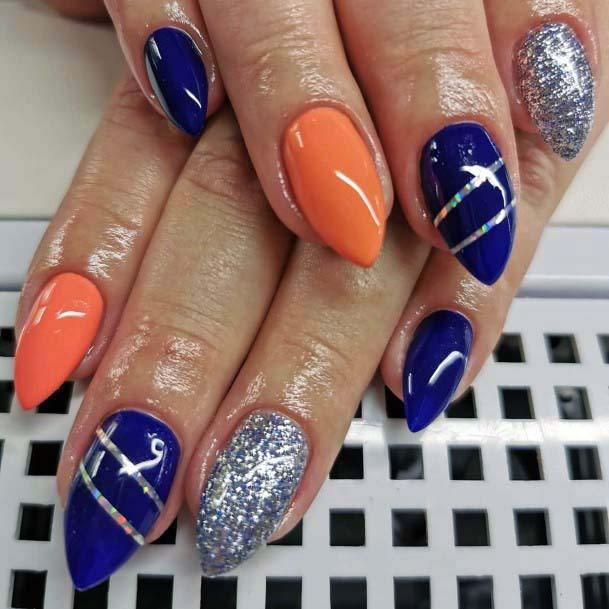 Shiny Dark Blue And Orange With Silver Nails For Women