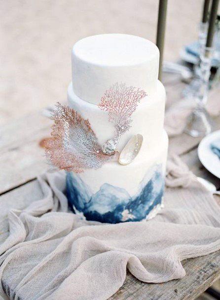 Shiny Decor Beach Wedding Cake Women