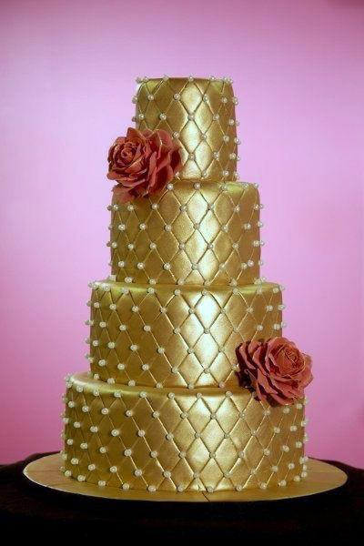 Shiny Gold Wedding Cake