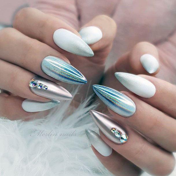 Shiny Hologram White Gel Nails With Stones
