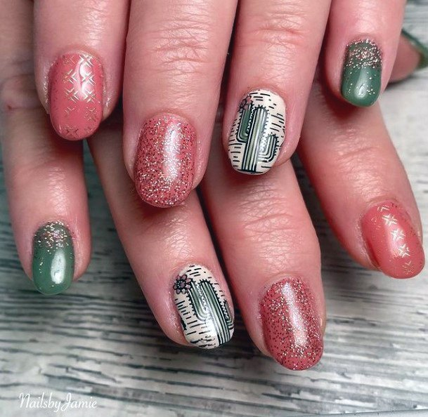 Shiny Pink And Green Cactus Nails Women