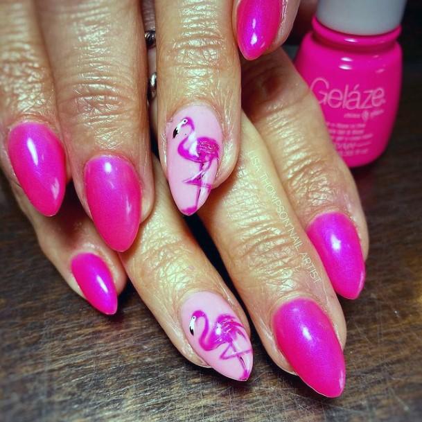 Shiny Pink Flamingo Nails Women