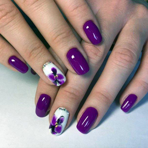 Shiny Purple Orchids Nail Art