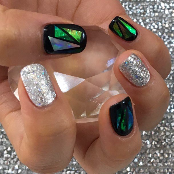 Shiny Silver And Black Glass Nails For Women