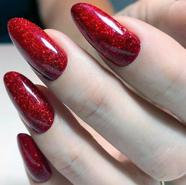 Shiny Tectured Glossy Shellac Red Nails For Women