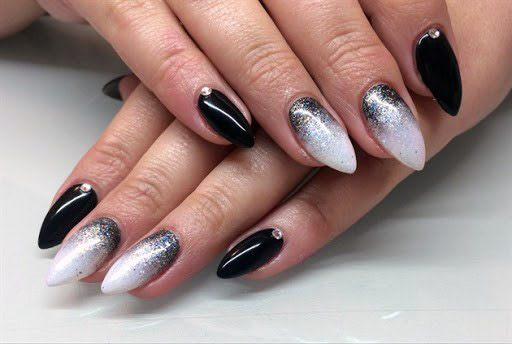Shiny White And Black Ombre Nails Women