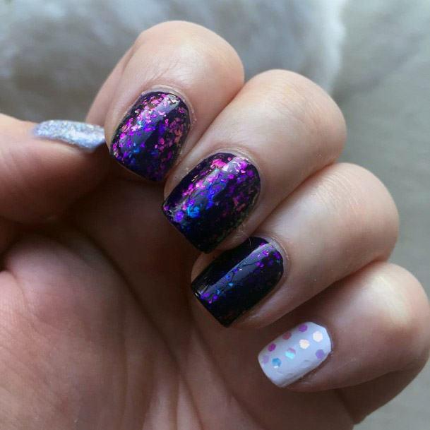 Shiny White And Purple Iridescent Nails Women