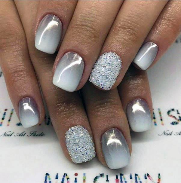Shiny White Marble And Ombre Nails Women