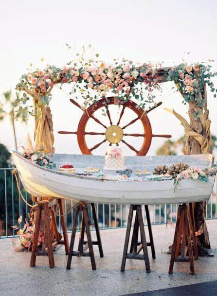 Ship Themed Anchor And Beach Wedding Flowers
