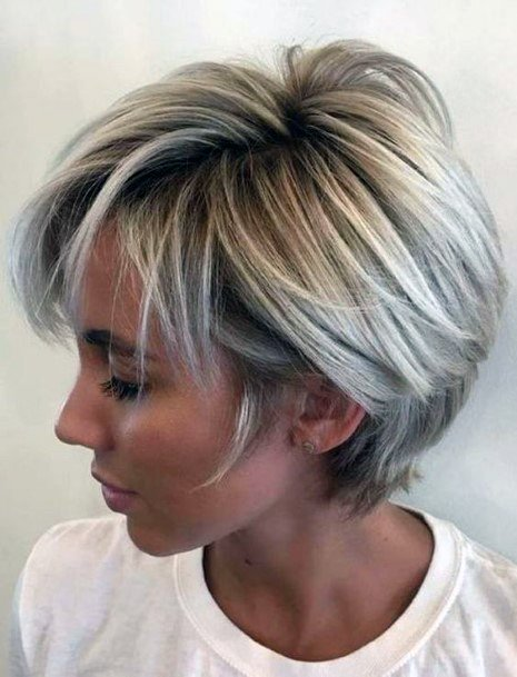 Short Ash Airy Blond With Dark Roots And Wedge Back