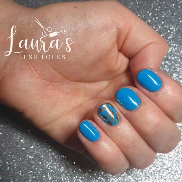 Short Bright Blue Nails Women For Women