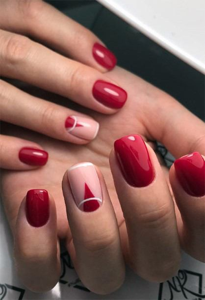 Short Bright Red And Light Pink Accent Nails For Women