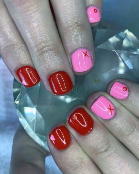 Short Glossy Red And Pink Nails For Women