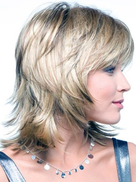 Short Light Blonde Wit Airy Multiple Layers And Bangs