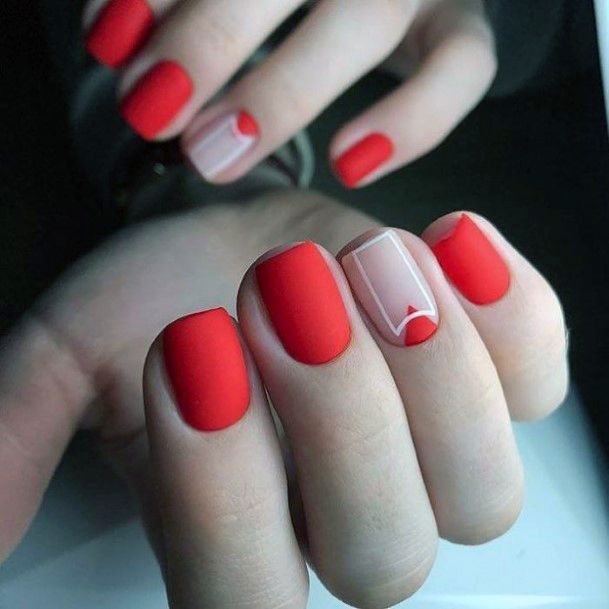 Short Matte Bright Red Nails For Women
