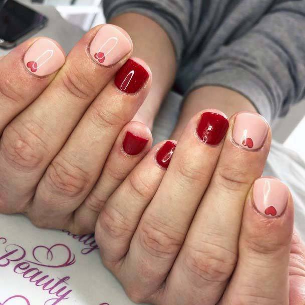 Short Nails Red And Pink For Women