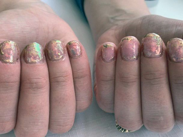Short Simple Iridescent Nails Women