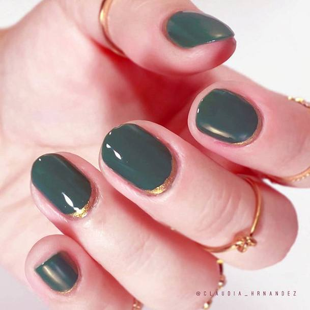 Short Smooth Green Nails With Gold Borders Women
