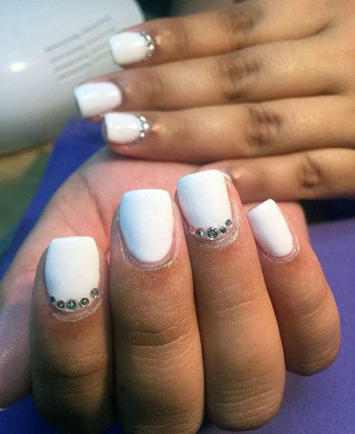 Short Square Nails White Gel Nails