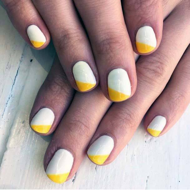 Short White Nails With Angled Yellow Bright For Women
