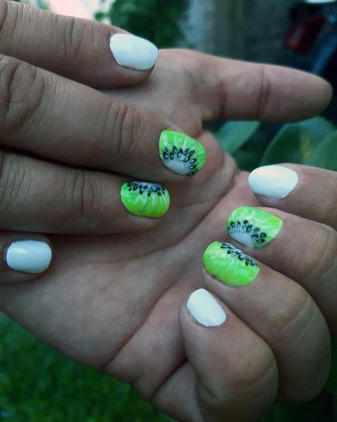 Short White Nails With Kiwi